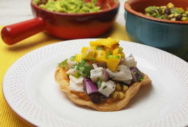 ceviche taco with black bean and corn salsa