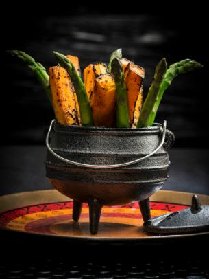 roasted sweet potato and asparagus