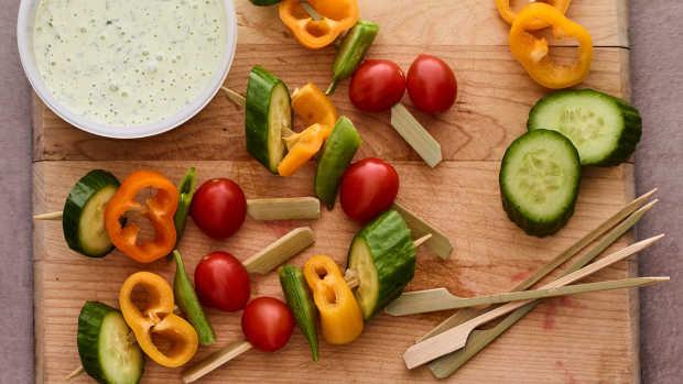 kids bento box veggie skewers