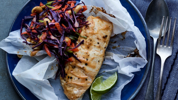 Miso and Lime Halibut En Papillote