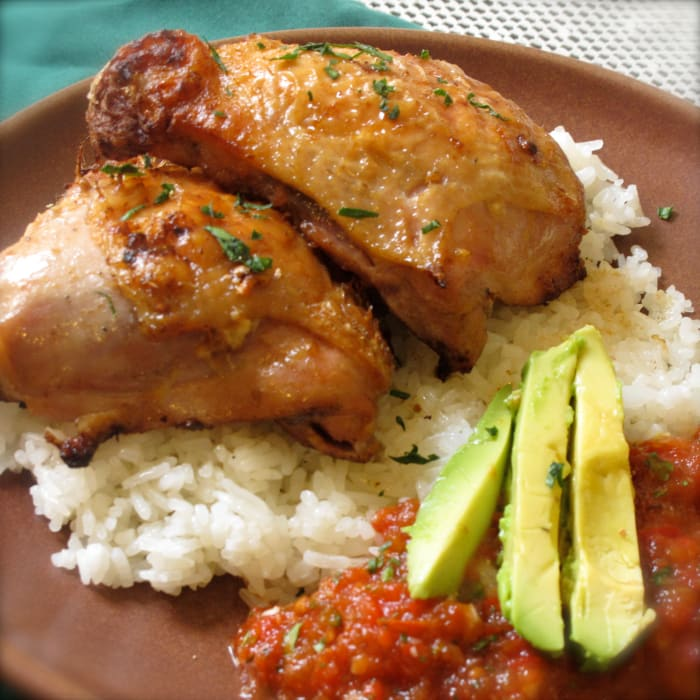Peruvian Grilled Chicken Thighs With Tomato Cilantro Sauce