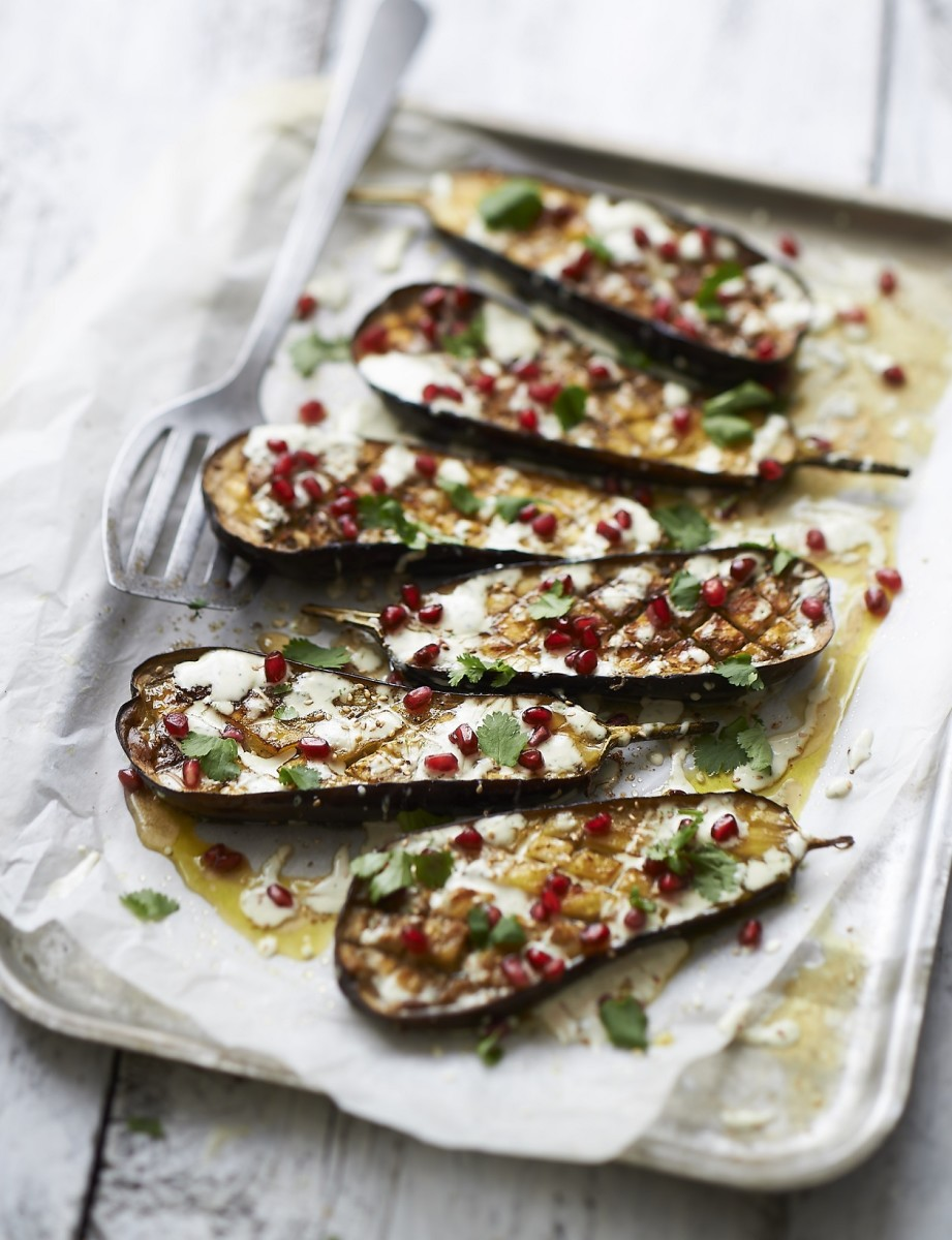 Roasted Aubergine With Tahini & Pomegranate