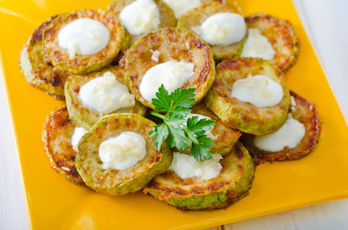 zucchini latkes with yogurt curry sauce