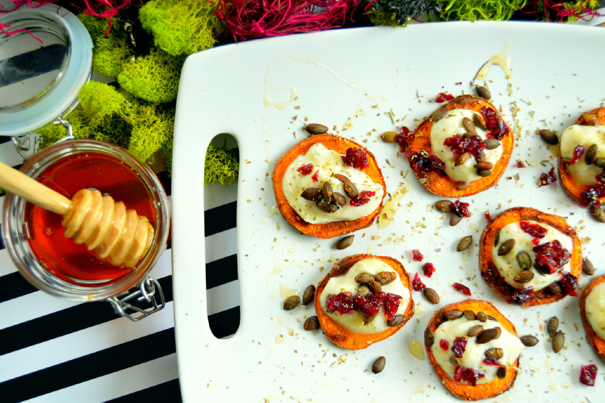 Sweet Potatoes with Herbed Ricotta and Wildflower Honey