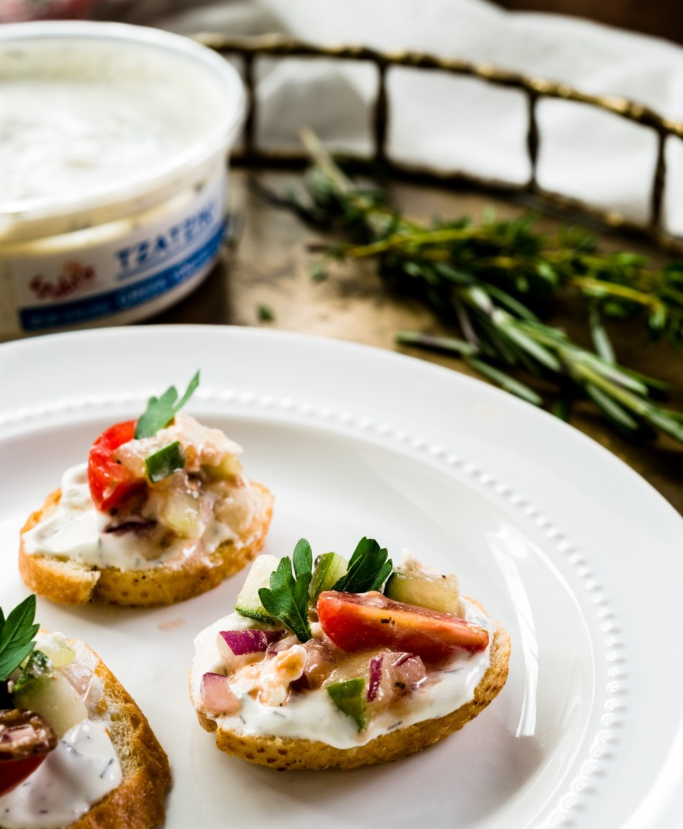 Greek Salad Crostinis with Mediterranean Herb Dip (or Tzaziki)