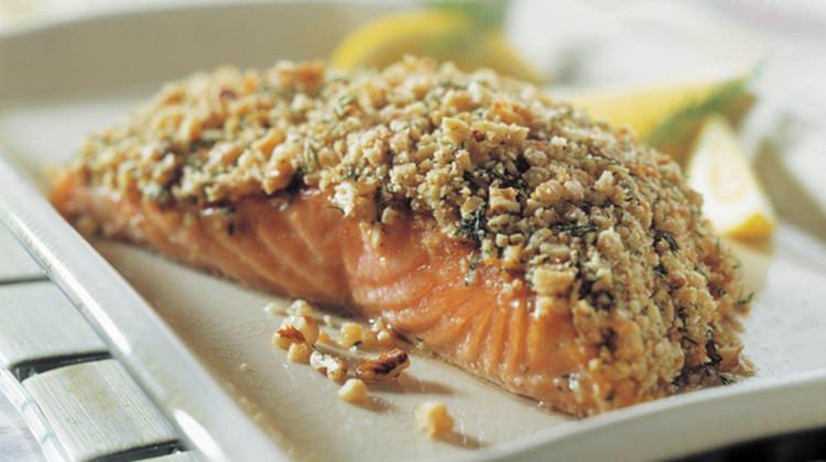 crunchy walnut crusted salmon filet
