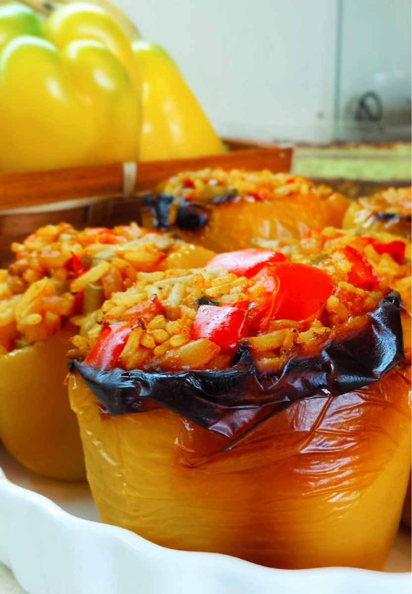 Almond Rice Stuffed Peppers