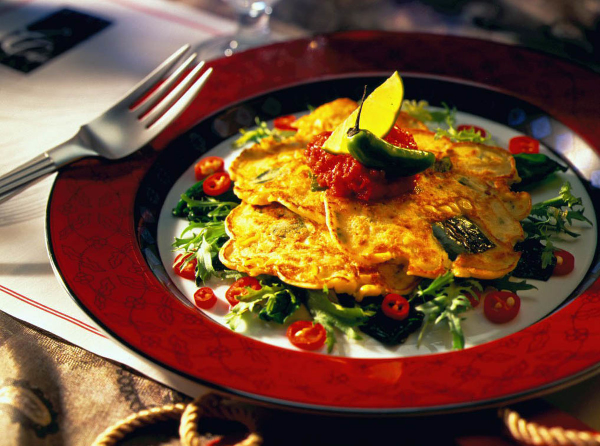 potato pancakes iwth roasted corn and poblano peppers