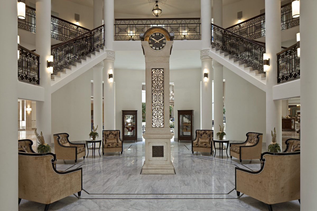 The Iconic Waldorf Astoria Clock at the Jerusalem Hotel Entrance