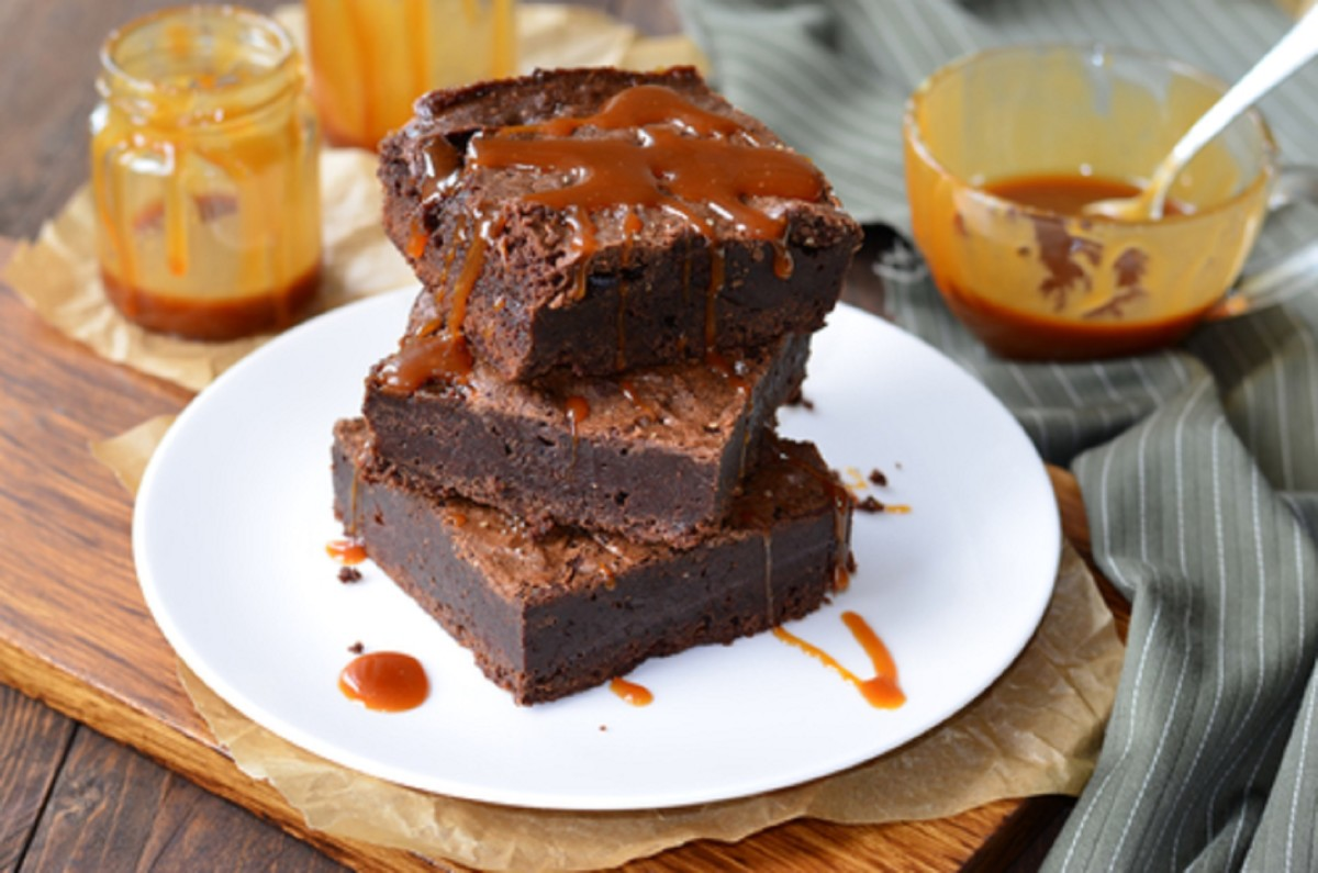 Gluten Free Rum Brownies with Rum Caramel Sauce