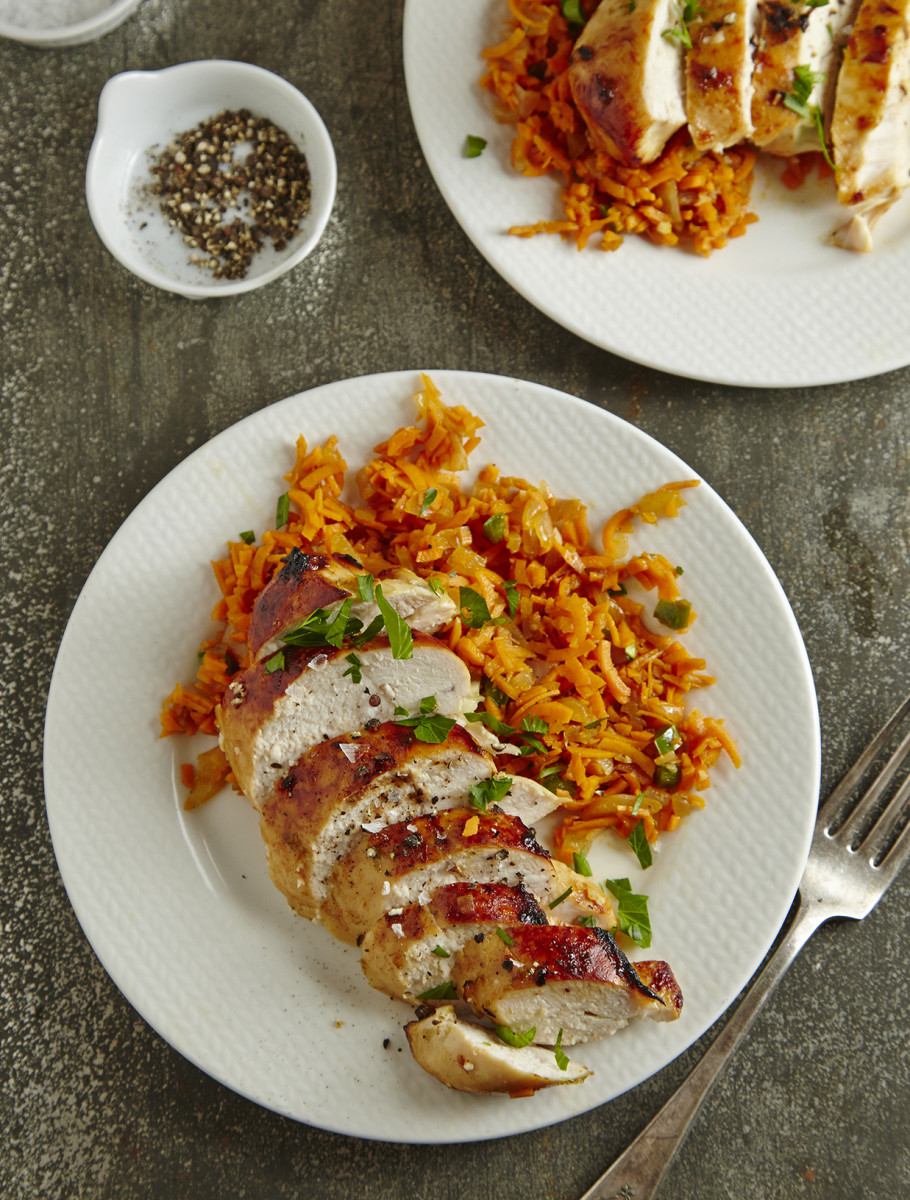 Spanish Sweet-Potato Rice with Honey-Lime Marinated Chicken Pg. 40