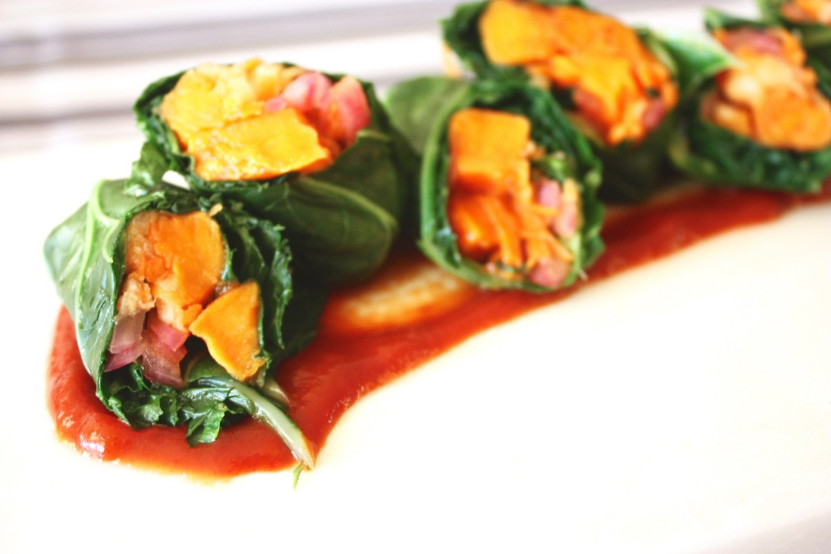 BBQ Collard Rolls With Pickled Onions and Jicama Carrot Slaw