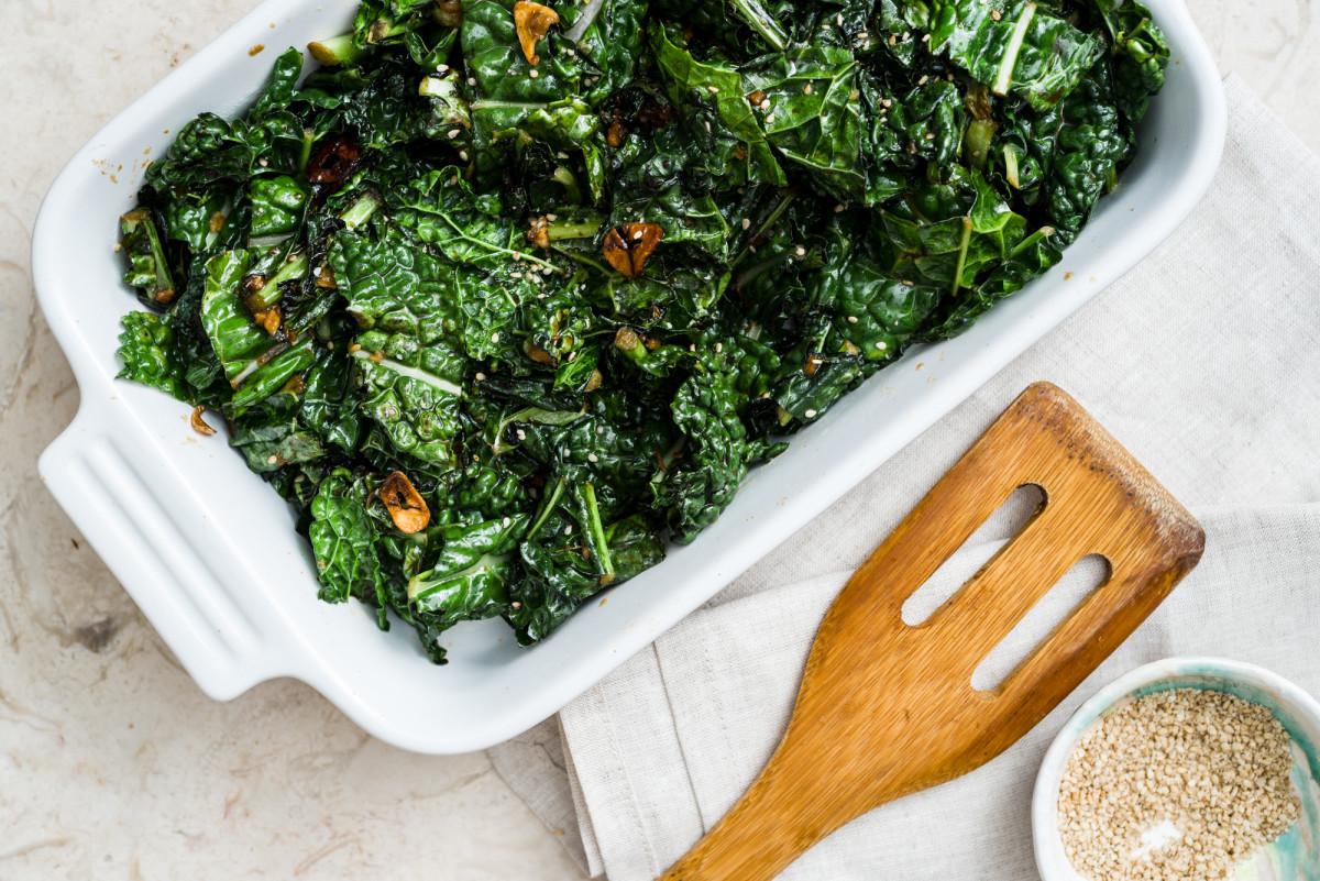 Stir Fried Miso Kale with Garlic