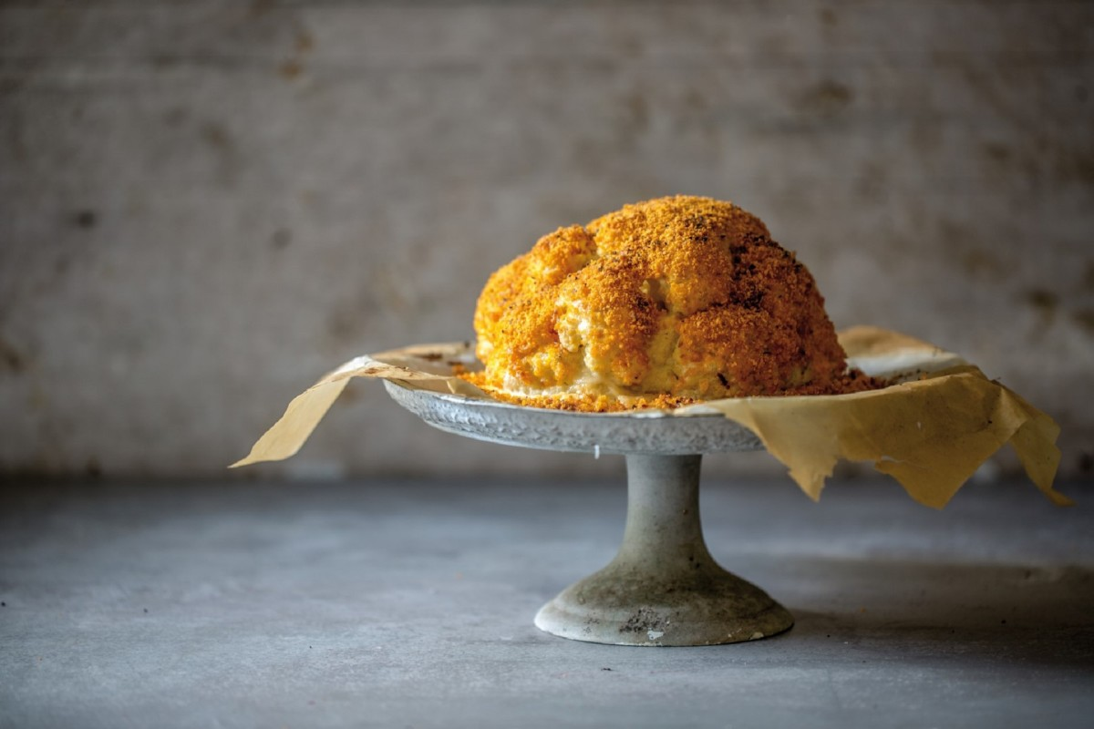 Cheese Filled Cauliflower Coated in Crispy Bread Crumbs