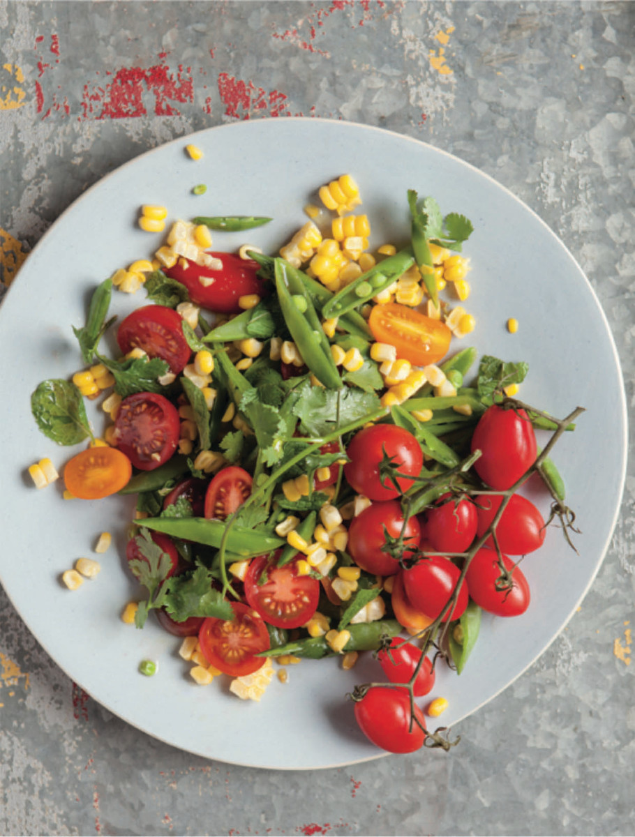 Corn, Sugar Snap, Tomato Salad