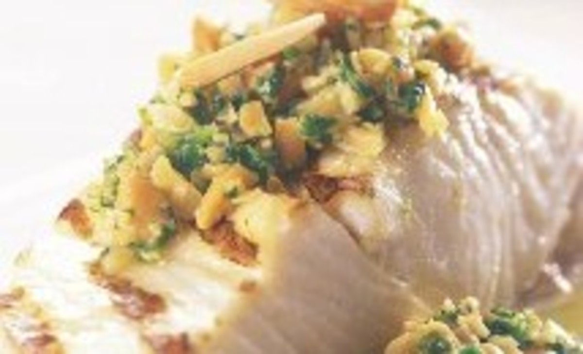 Broiled Fish with Orange Almond Cilantro Salsa