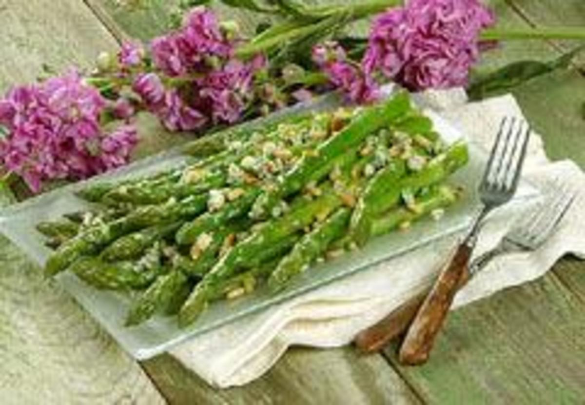 California Asparagus with Blue Cheese and Pine Nuts