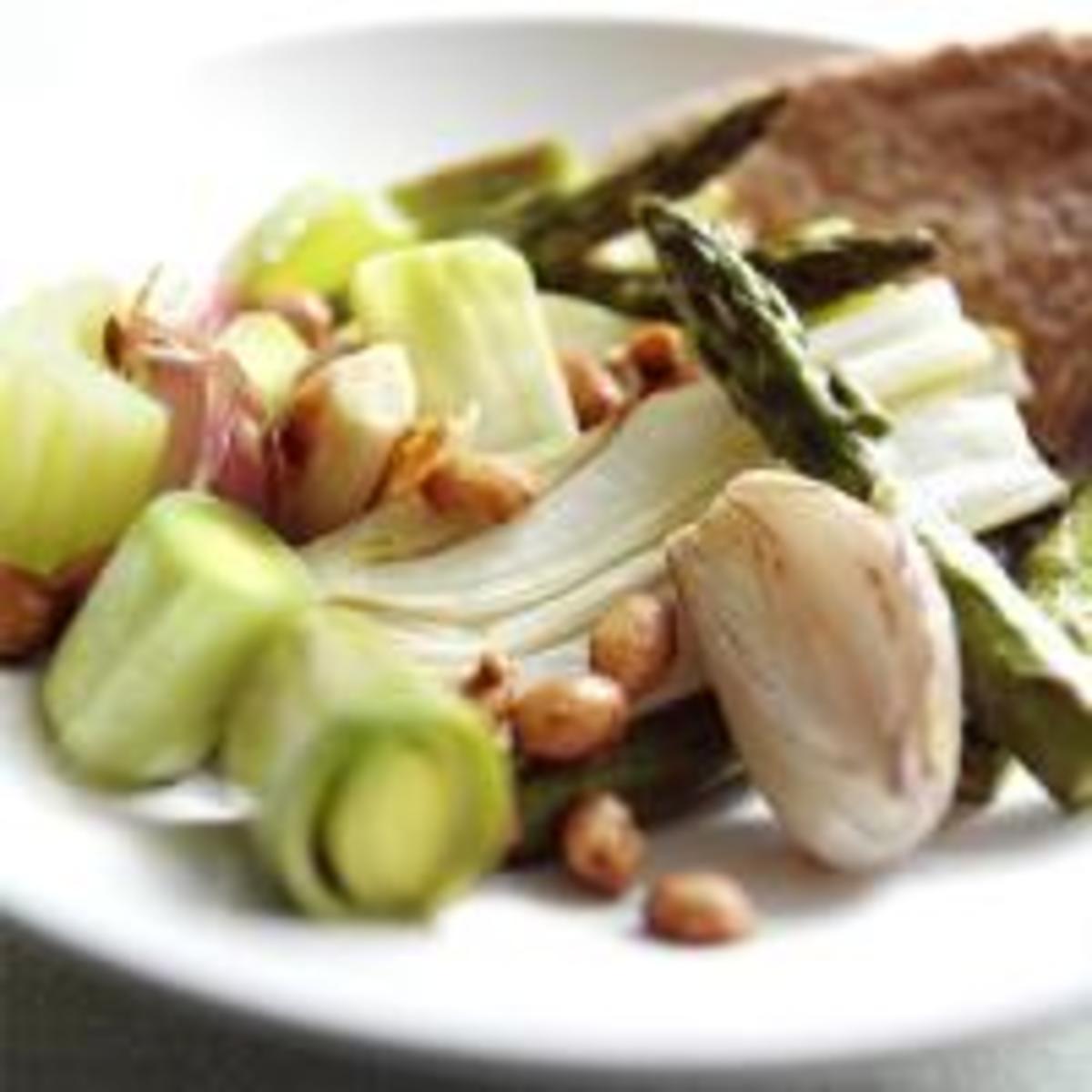 Oven Roast Nutty Spring Vegetables