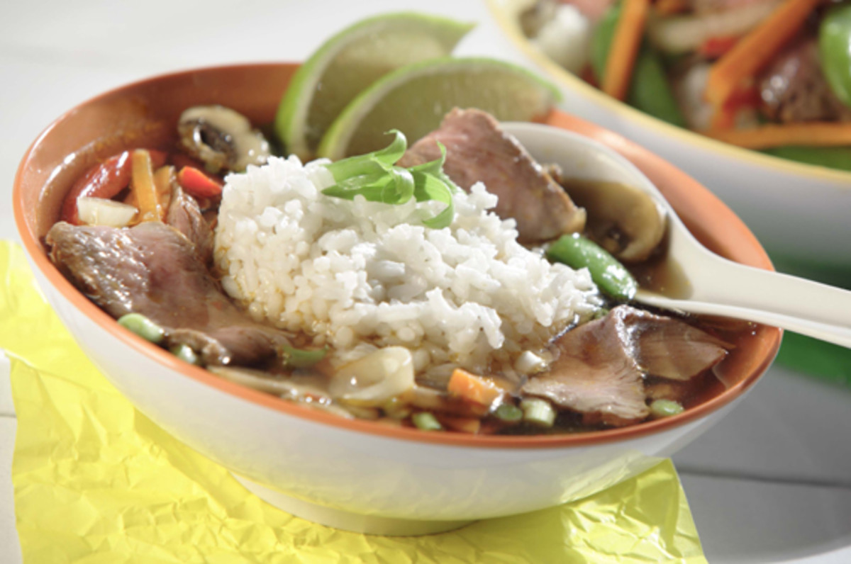 Spicy Ginger Beef & Rice Soup with Lime