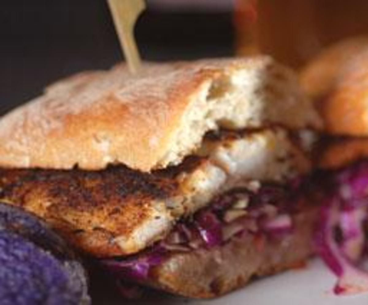 Grilled Blackened Barramundi Sandwich