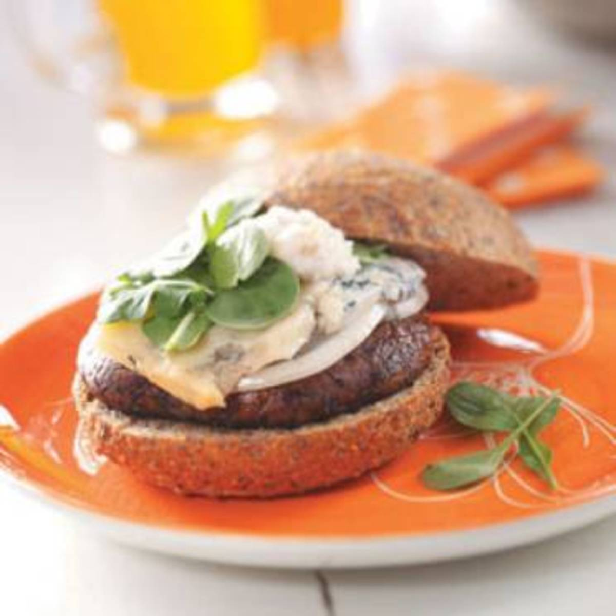 Portabella Burgers with Pear-Walnut Mayonnaise