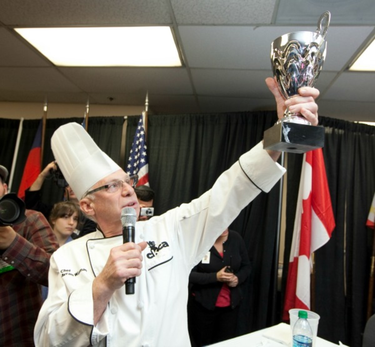 Chef Wiseman holding Trophy