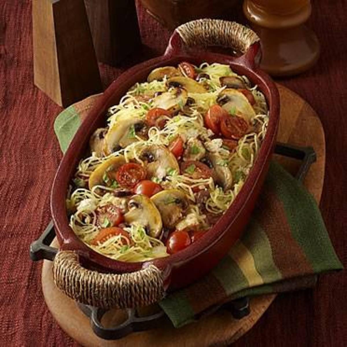 Mushroom Primavera with Spaghetti Squash