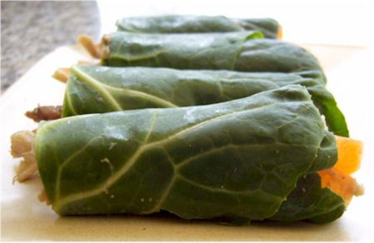Collard Green and Hummus Mini-Wraps