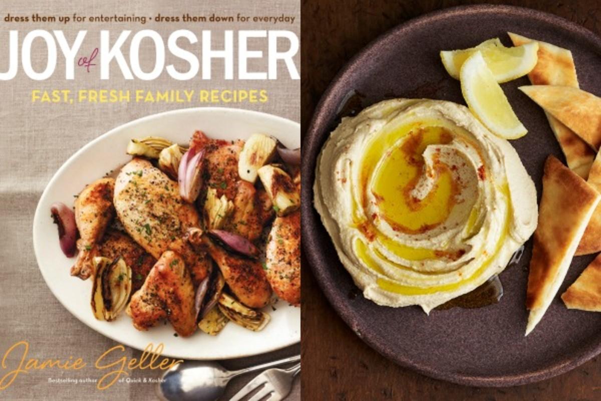 cookbook with hummus