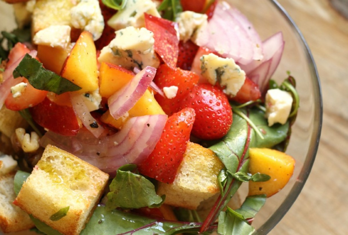 Strawberry Nectarine Panzanella with Blue Cheese