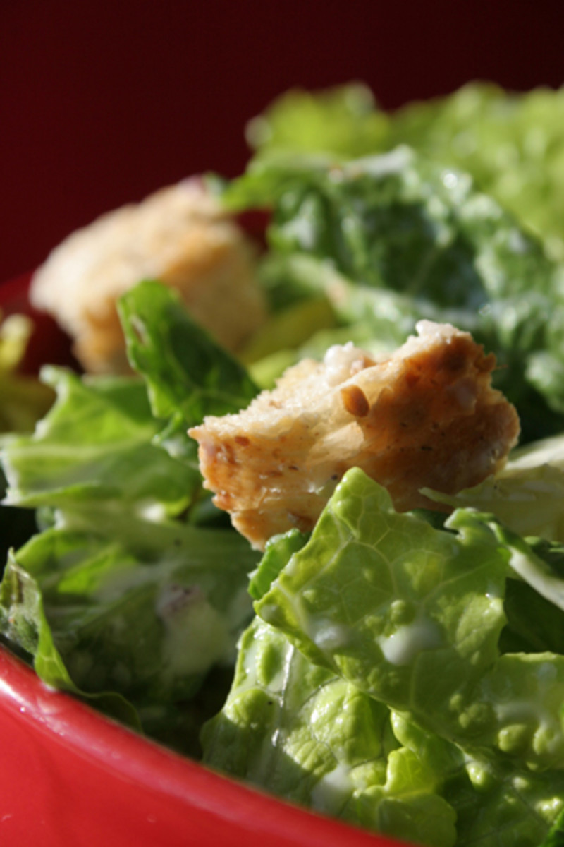 Caesar-Style Salad With Whole Wheat Croutons