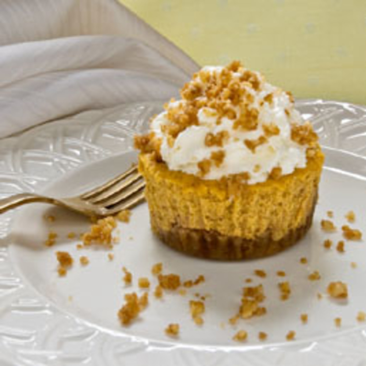 Walnut Crusted Mini Pumpkin Cheesecakes