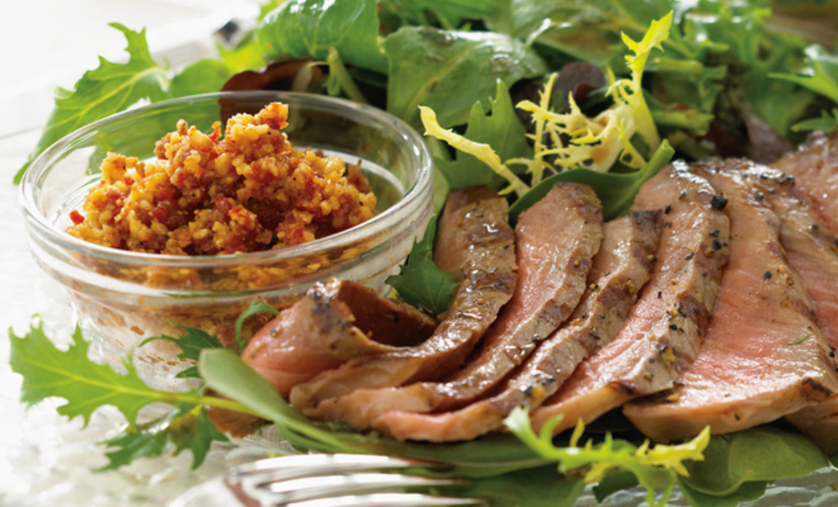 Mixed Greens with Grilled Steak & Walnut Romesco