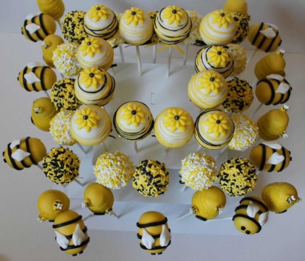 honey bee cake pops