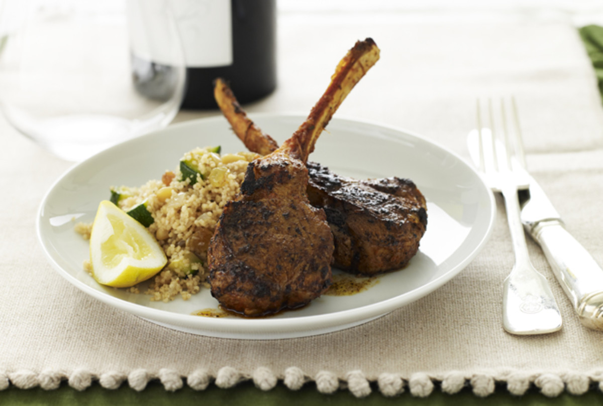 Moroccan Lamb Chops with Spiced Couscous