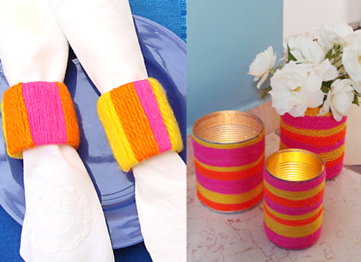 Yarn wrapped napkin rings,yarn wrapped cans