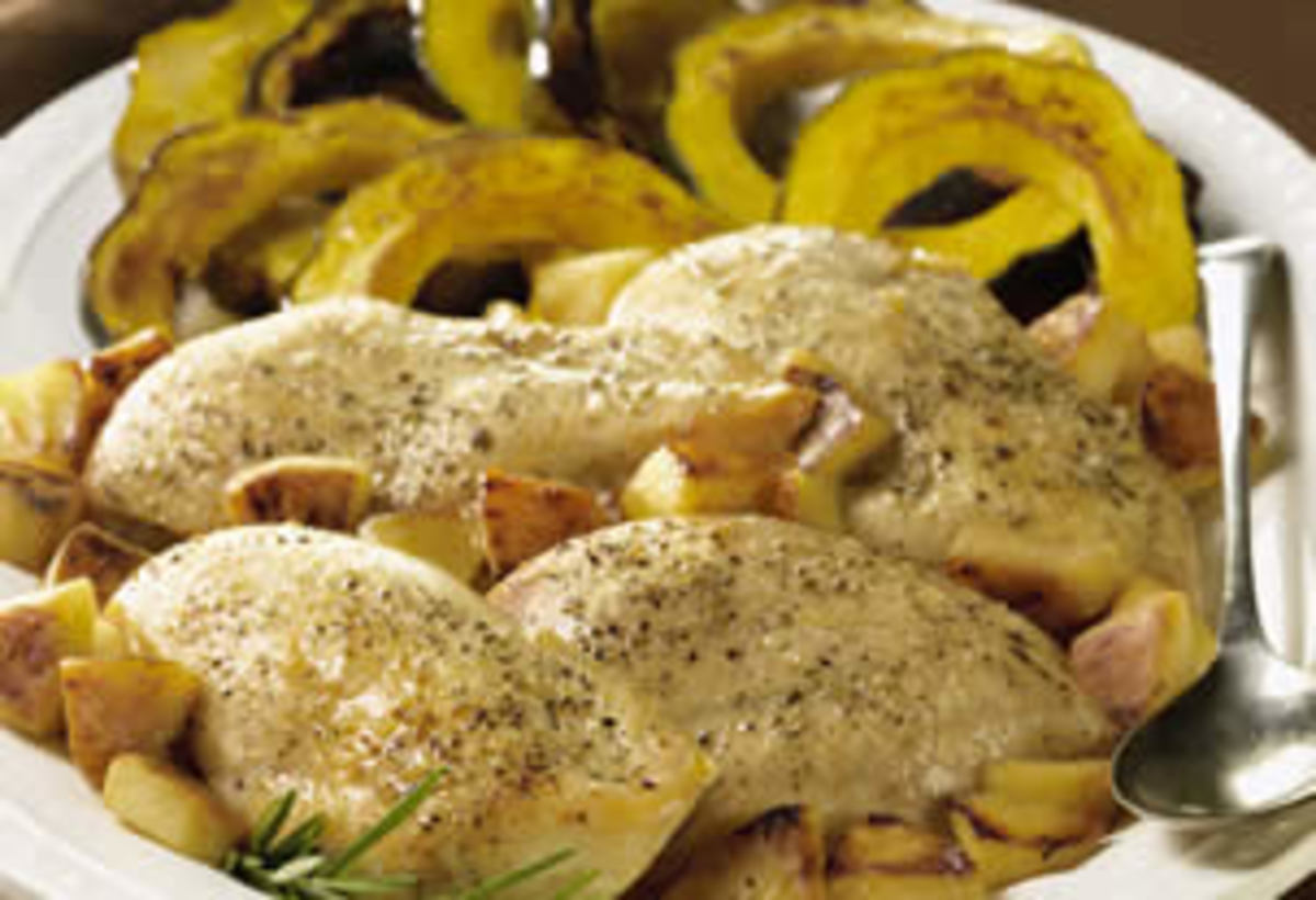 Roasted Chicken Breasts with Rosemary Apples