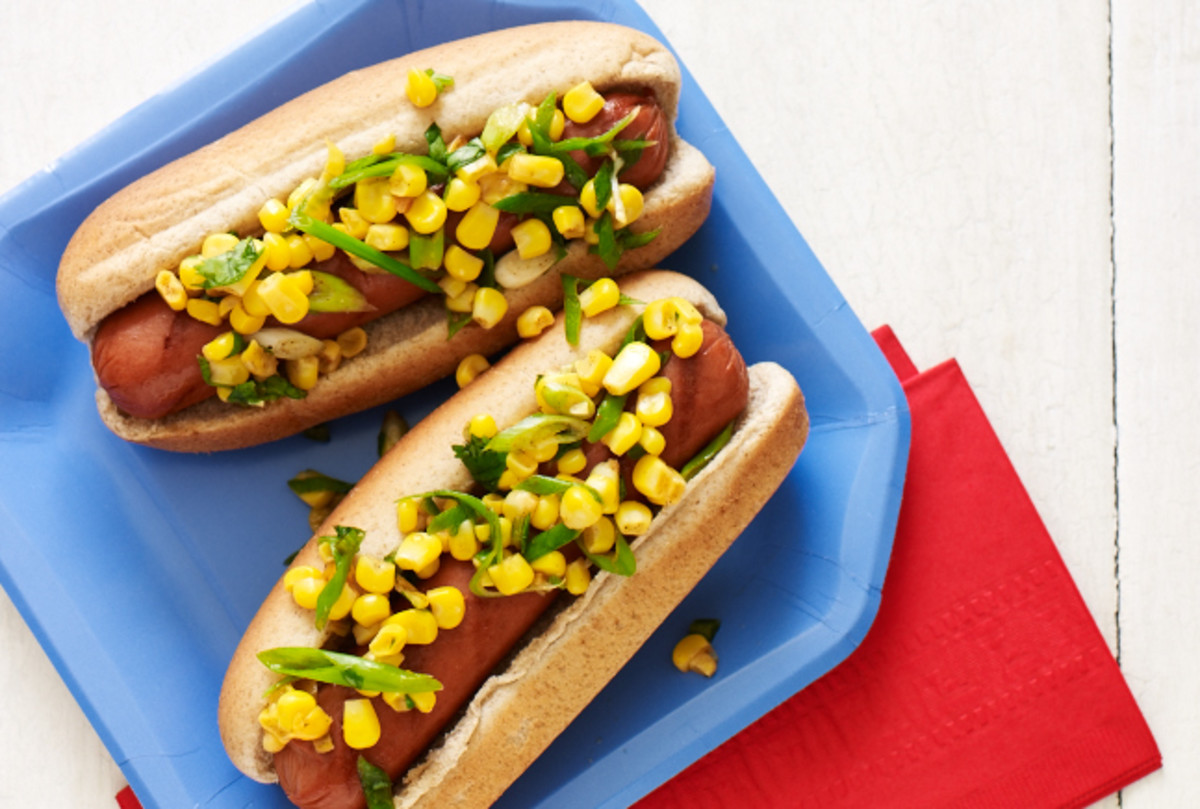 corn salsa hot dog topper