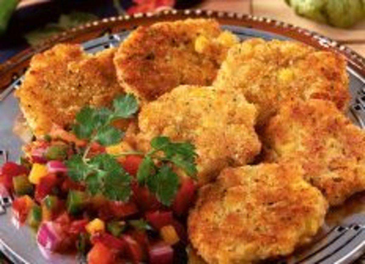 Corn and Potato Mini Pancakes with Salsa