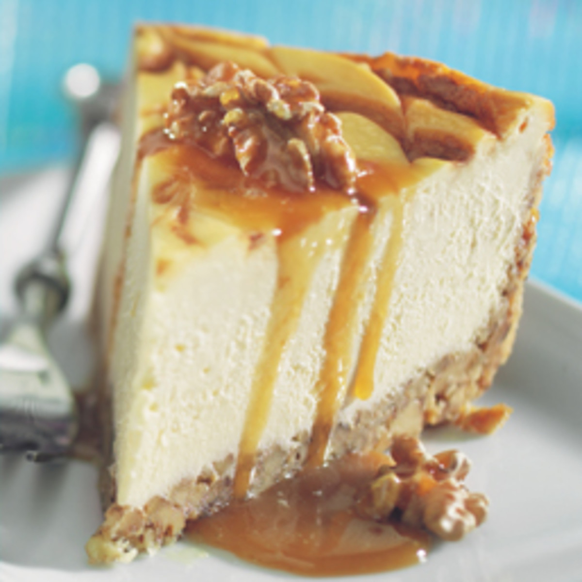 Walnut Crusted Caramel-Bourbon Swirl Cheesecake