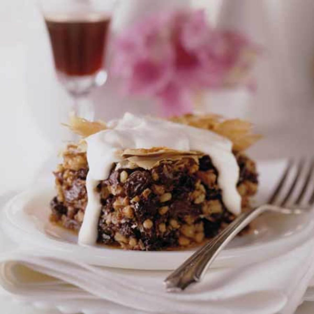 Chocolate Walnut-Raisin Baklava