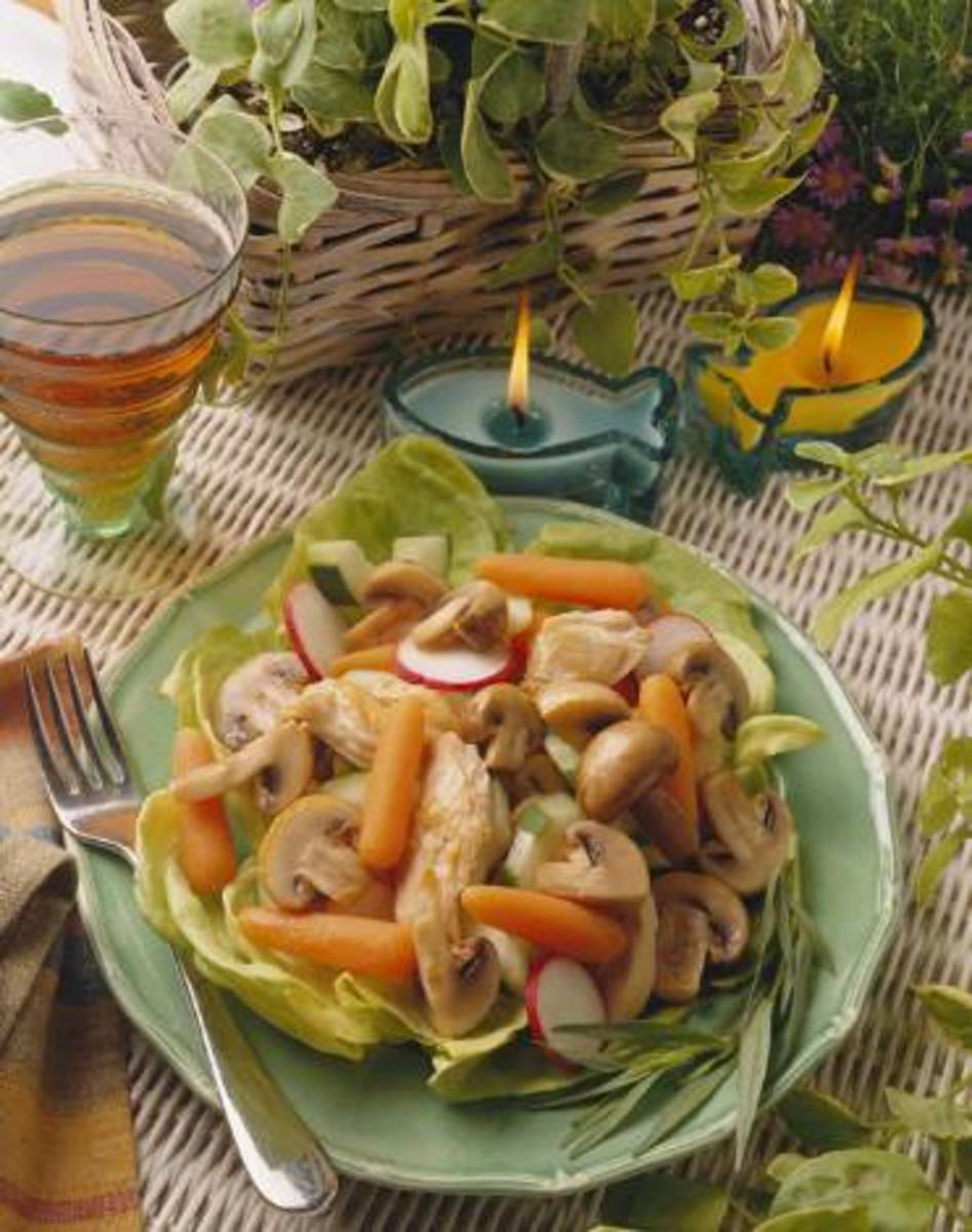 Warm Mushroom and Chicken Salad Provencal