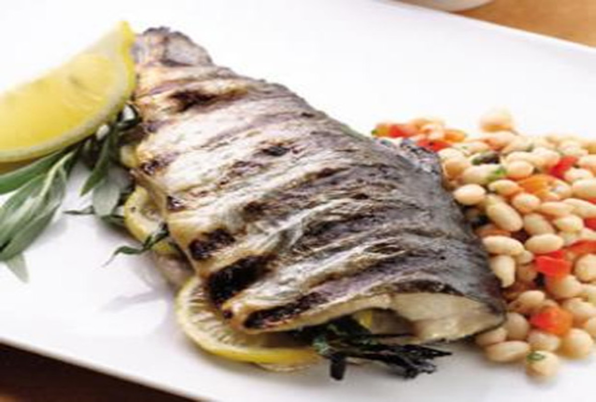 Grilled Trout with Lemon Tarragon Bean Salad