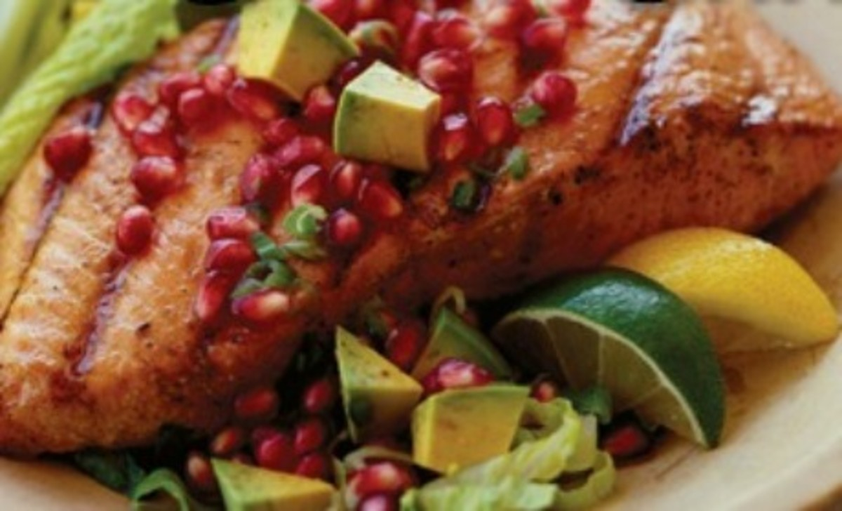 Roasted Salmon with Pomegranate and Avocado Salsa