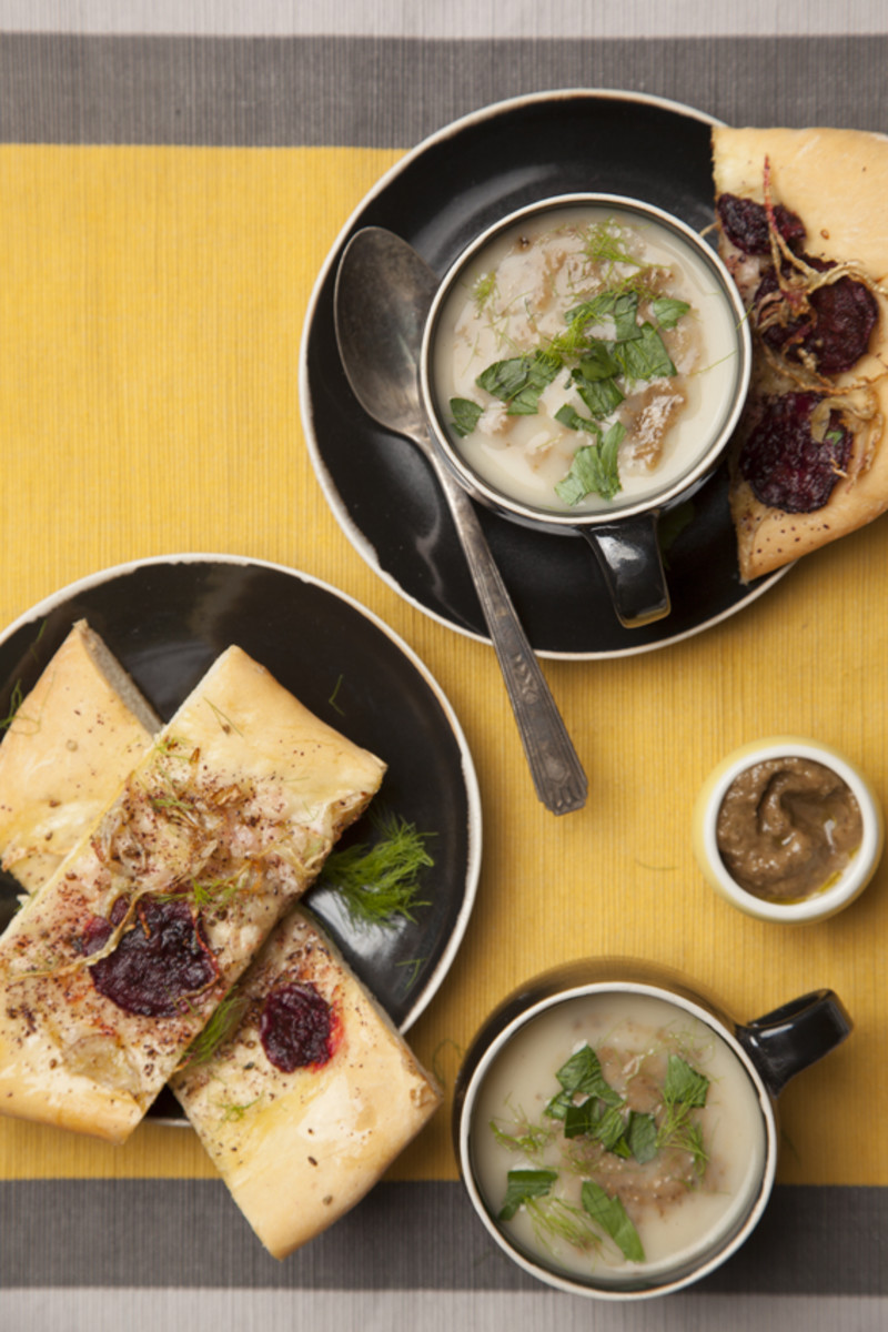 Focaccia with Beetroot and Parsnip Olive Soup