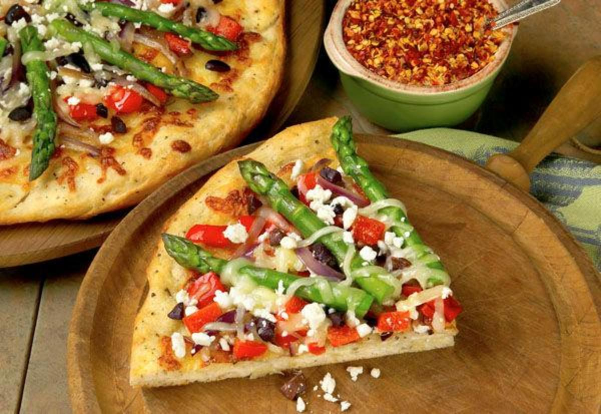 California Asparagus Pizza with Red Bell Pepper, Olive and Feta Cheese