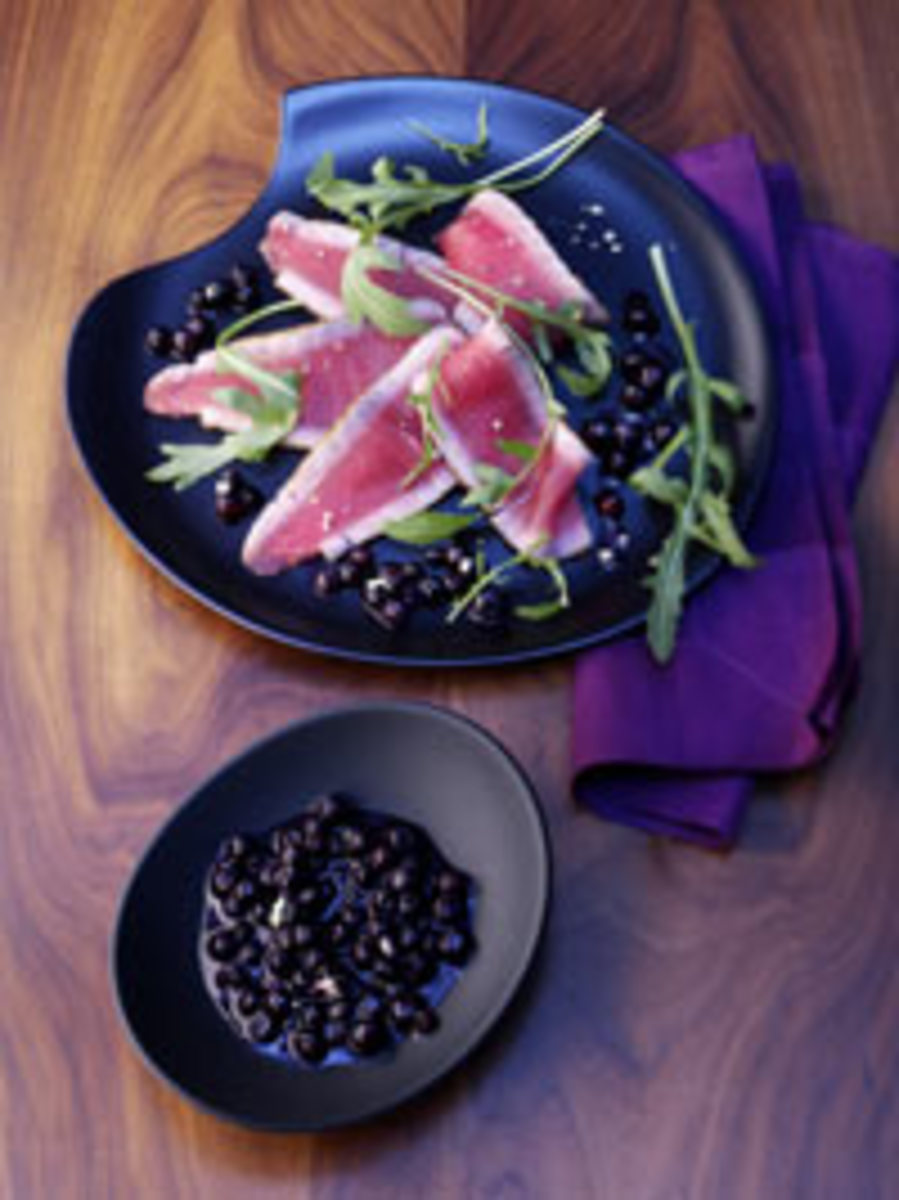 Tuna Carpaccio with Wild Blueberry Wasabi Sauce