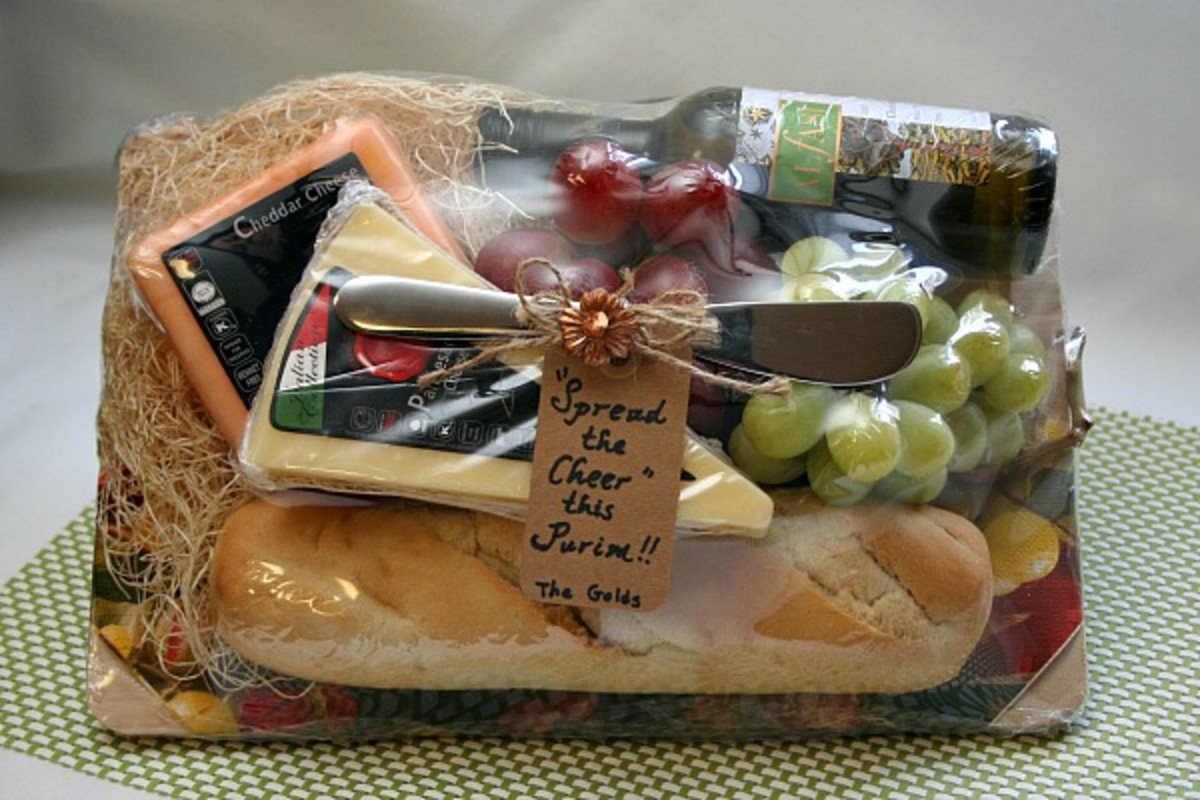 wrapped purim cheese basket
