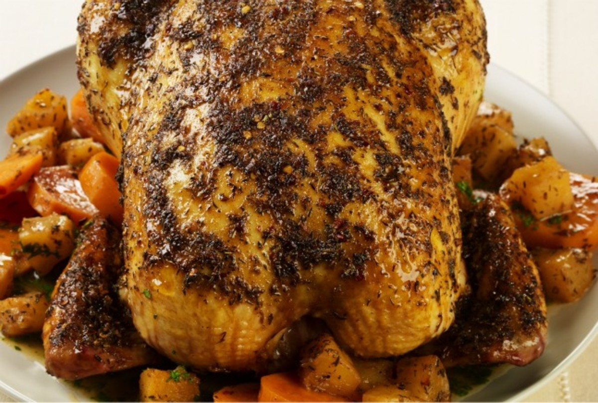 Caribbean Roast Chicken with Pineapple and Sweet Potatoes Recipe