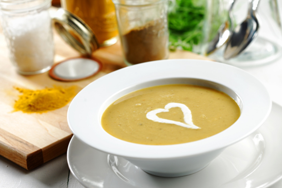 Yellow Split Pea Soup with Chili-Spiked Onion and Creme Fraice